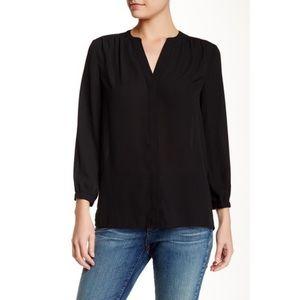 NYDJ Pleat black 3/4 sleeve blouse XL